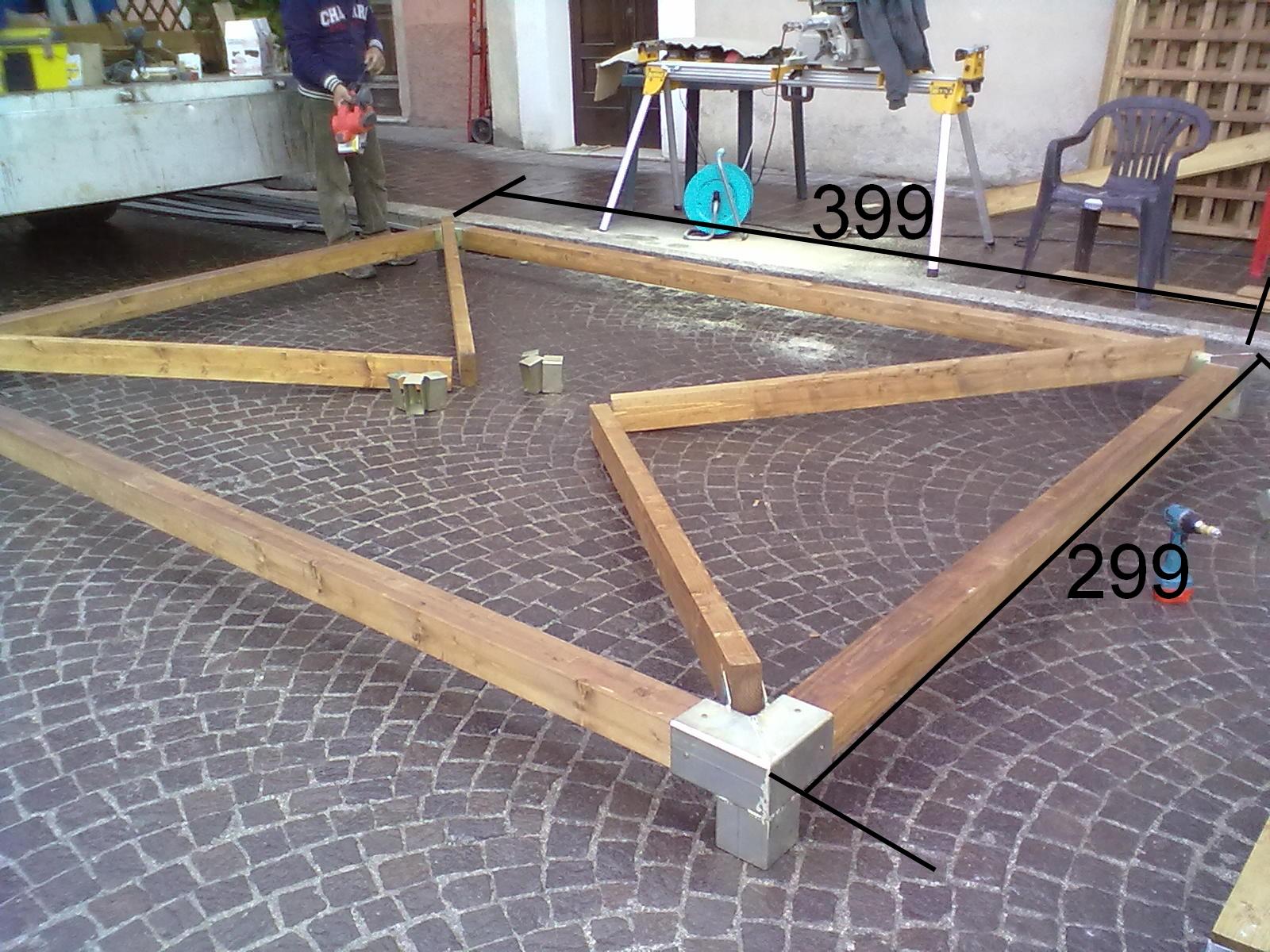 Gazebo legno 3 4 compreso trasporto bgl ferro for Progetto gazebo in legno pdf